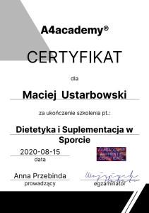 certyfikat dietetyka w sporcie